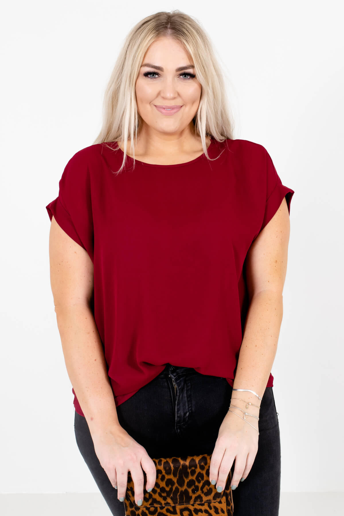 Burgundy Red Lightweight and Flowy Boutique Blouses for Women