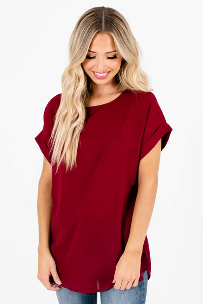 Women's Burgundy Round Neckline Boutique Blouse
