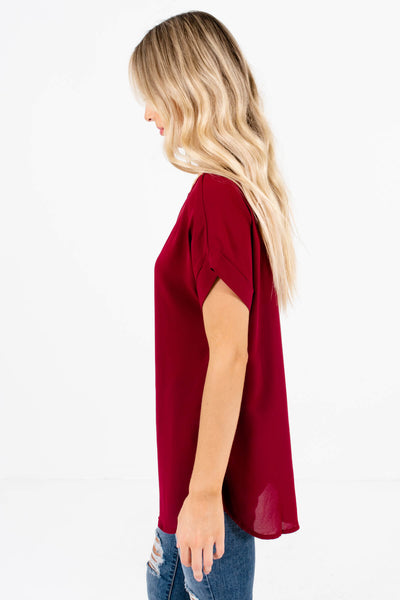 Burgundy Layering Boutique Blouses for Women