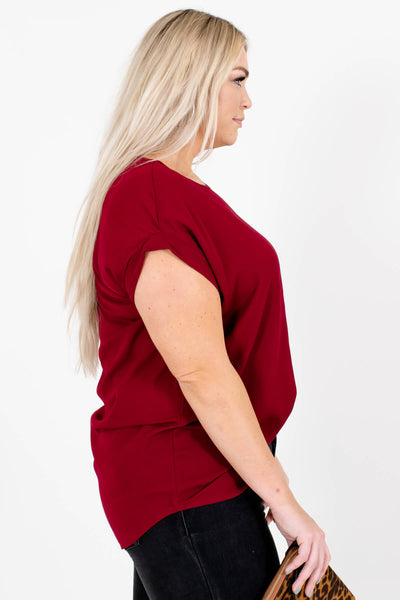 Burgundy Red Layering Boutique Blouses for Women