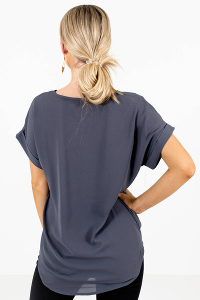Women's Gray Cuffed Sleeve Boutique Blouse