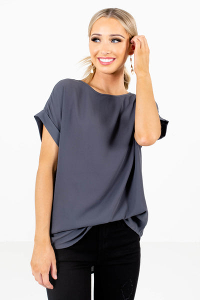 Women's Gray Subtle High-Low Hem Boutique Blouse