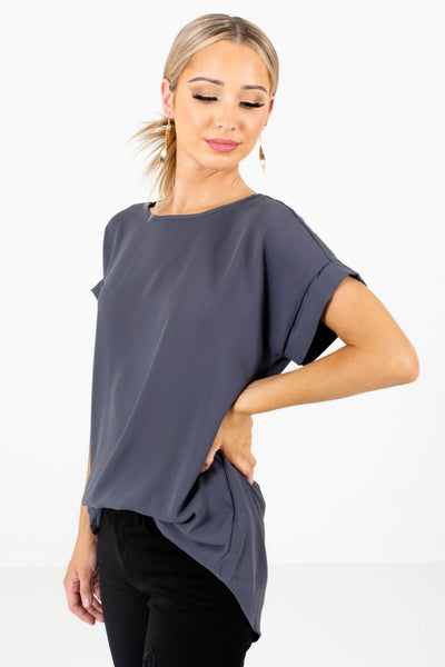 Gray Layering Boutique Blouses for Women