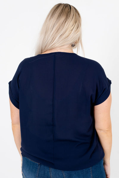 Women's Navy Blue Cuffed Sleeve Boutique Blouse