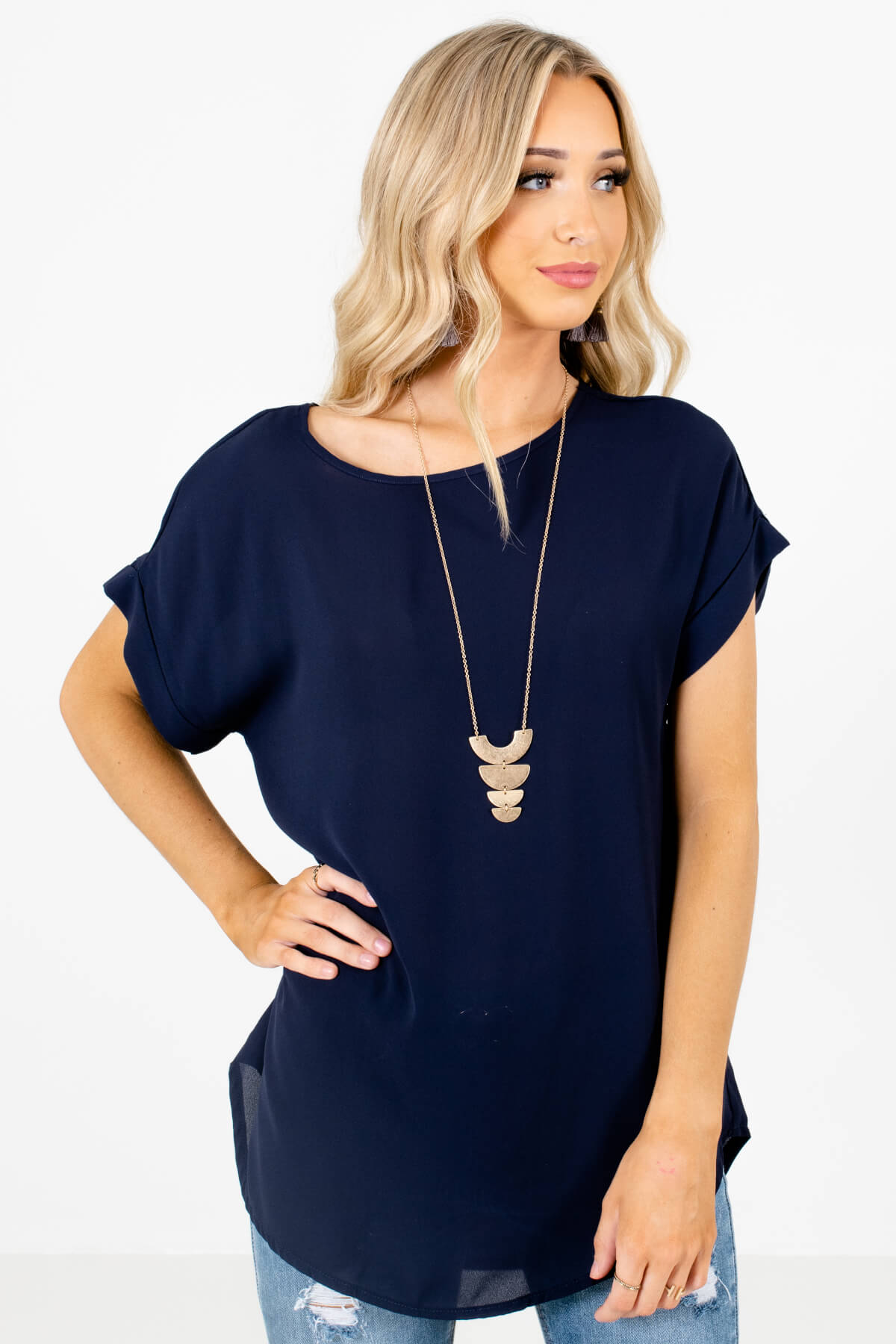 Navy Blue Lightweight and Flowy Boutique Blouses for Women