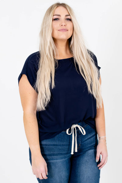 Navy Blue Cute and Comfortable Boutique Blouses for Women
