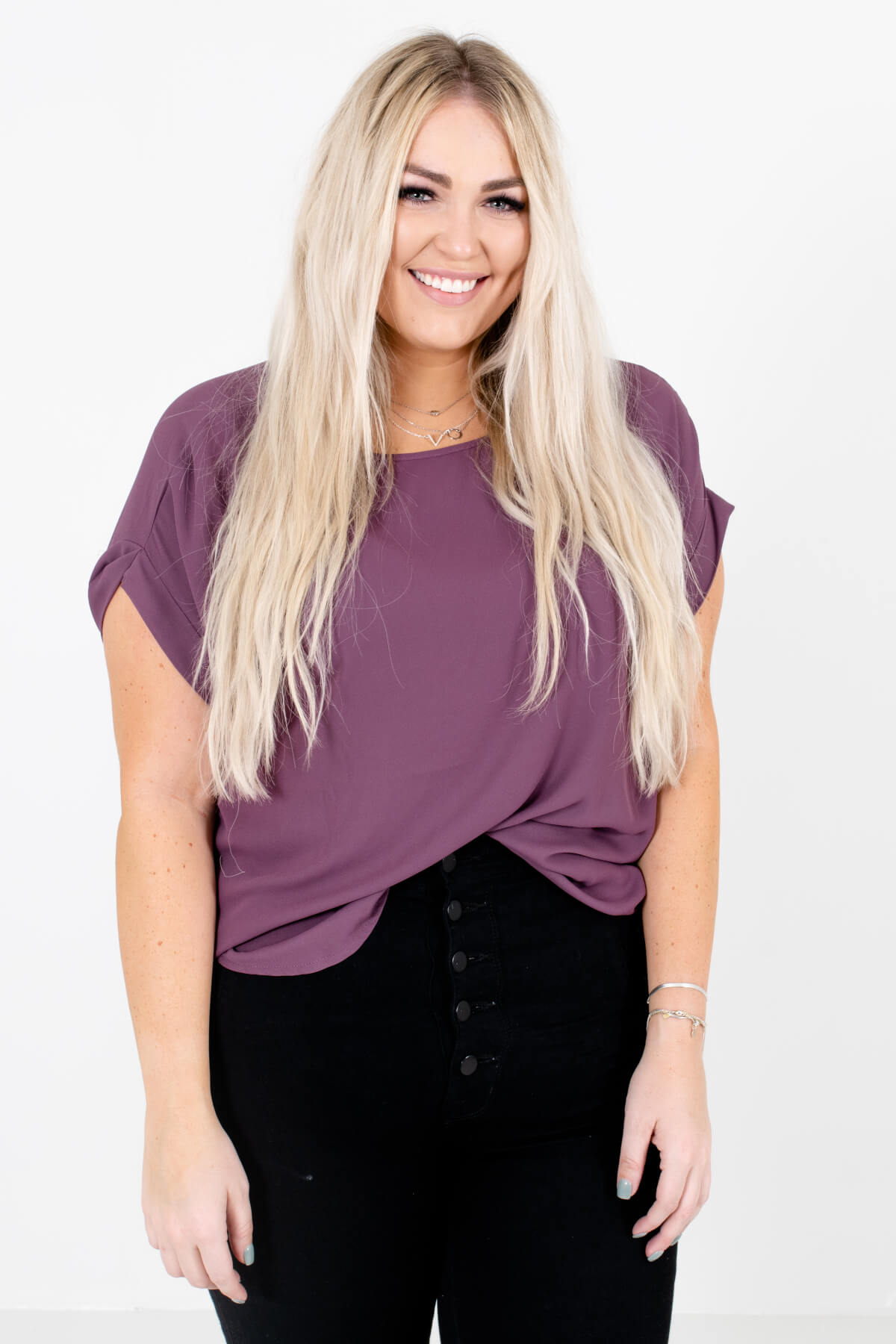Purple Lightweight and Flowy Boutique Blouses for Women