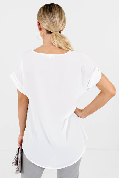 Women's White Cuffed Sleeve Boutique Blouse