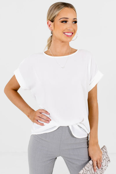 Women's White Subtle High-Low Hem Boutique Blouse