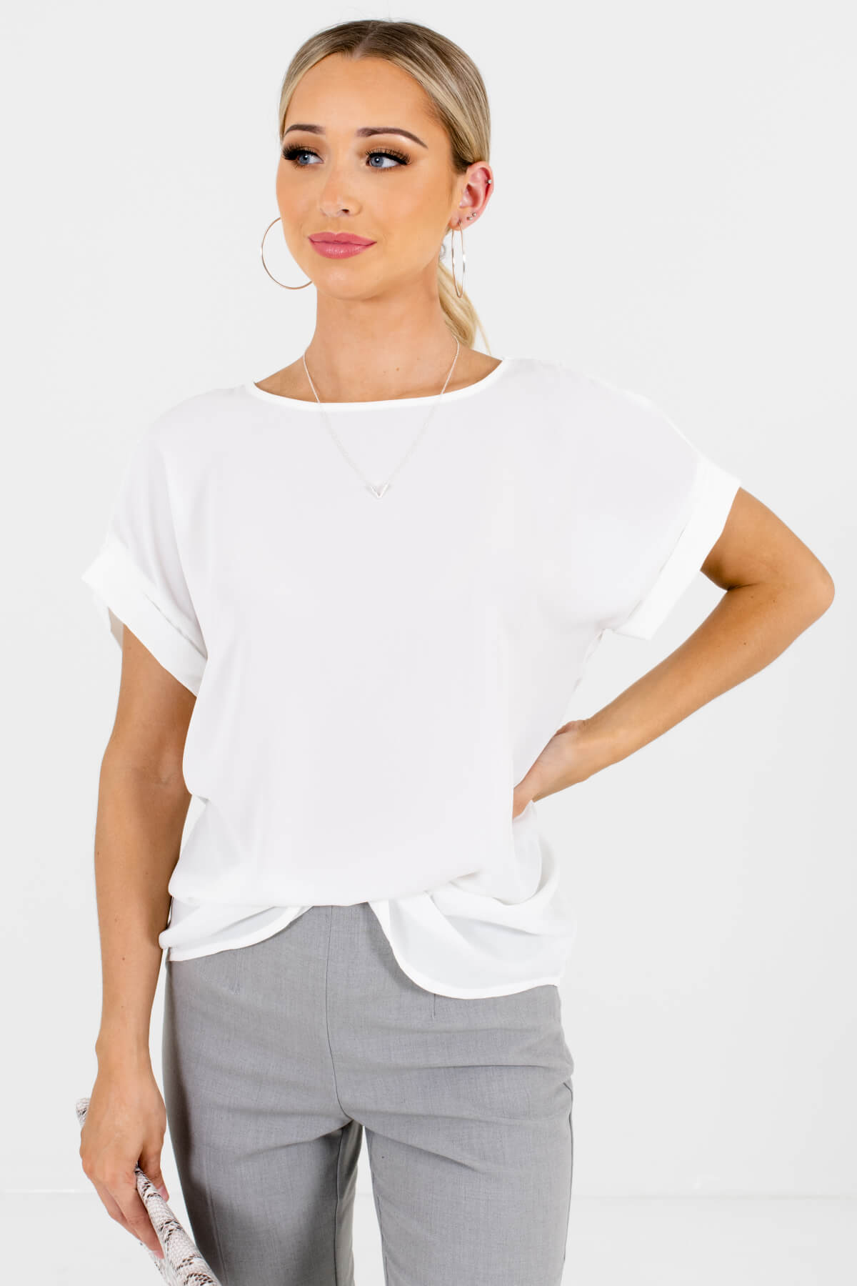 White Lightweight and Flowy Boutique Blouses for Women