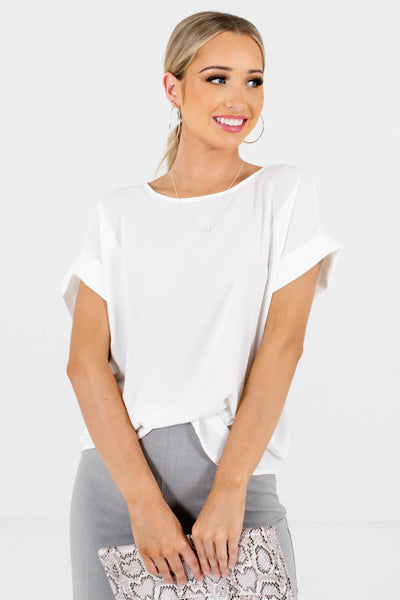 Women's White Round Neckline Boutique Blouse