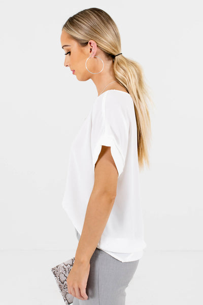 White Layering Boutique Blouses for Women