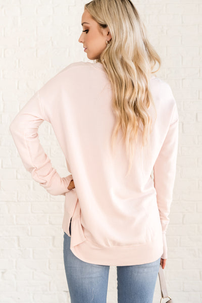 Light Pink Women's Comfortable Pullovers Cozy Warm Clothing