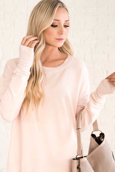 Light Pink Flowy Pullovers for Women Cozy Warm