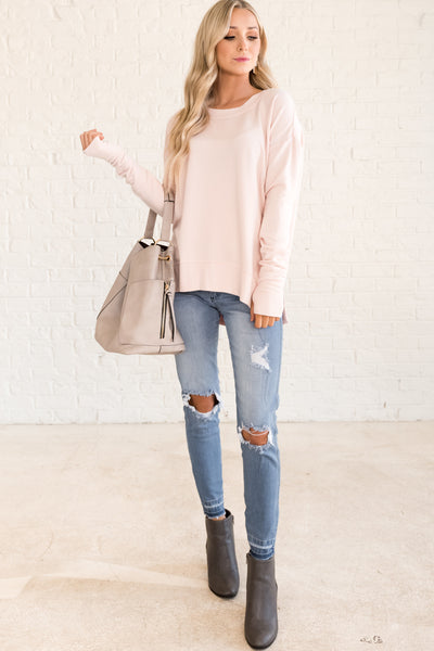 Light Pink Pullovers with Thumb Holes for Women Cozy Warm Fashion
