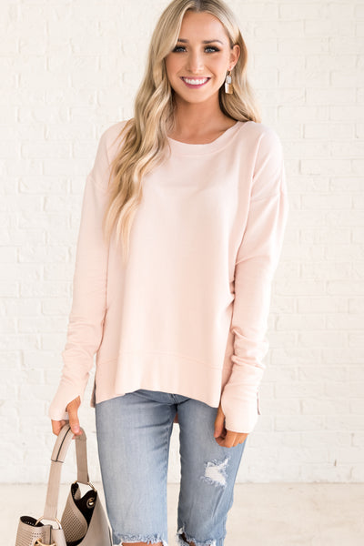 Light Pink Oversized Pullovers for Women Cozy Warm