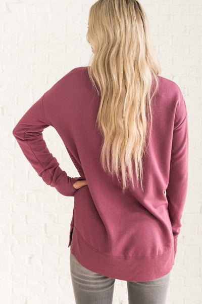 Mauve Purple Women's Soft and Comfortable Pullover Cozy Warm