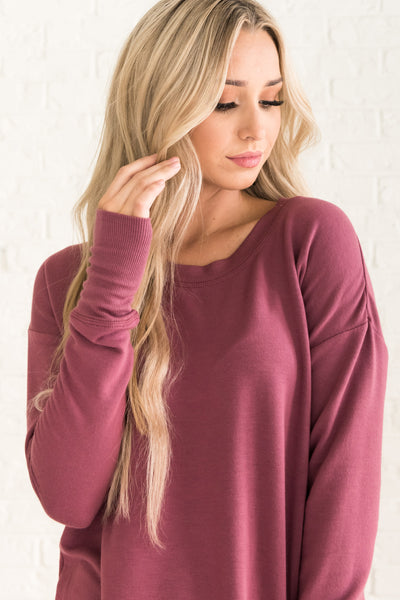 Mauve Puprle Long Sleeve Pullovers for Women Cozy Warm Boutique