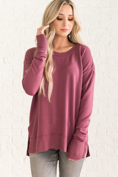 Mauve Purple Oversized Pullovers for Women Cozy Warm Clothing