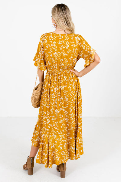 Women's Mustard Yellow Ruffled Hem Boutique Midi Dress