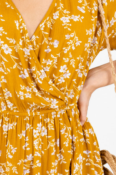 Mustard Yellow Cute and Comfortable Boutique Midi Dresses for Women