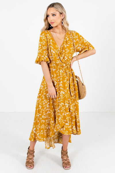 Mustard Yellow Wrap Style Bodice Boutique Midi Dresses for Women