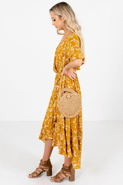Women's Mustard Yellow Casual Everyday Boutique Midi Dress