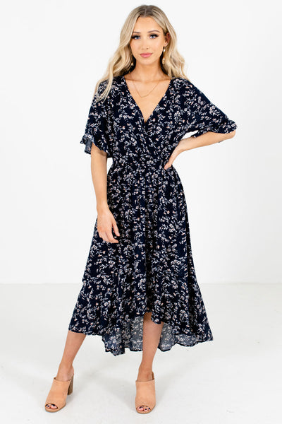 Navy Blue Multicolored Floral Pattern Boutique Midi Dresses for Women