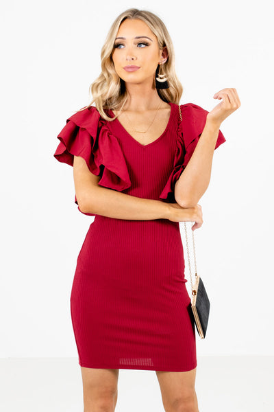 Red Ruffle Sleeve Boutique Mini Dresses for Women