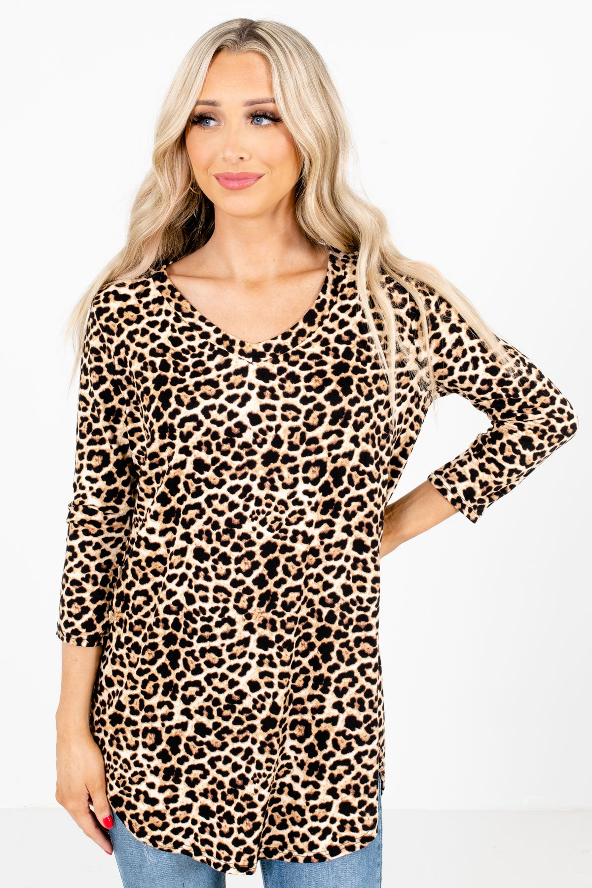 Brown Leopard Print Patterned Boutique Tops for Women