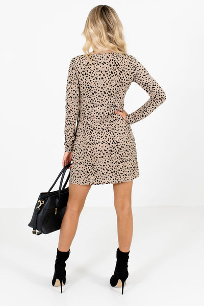 Women's Taupe Brown Wrap Style Boutique Mini Dresses