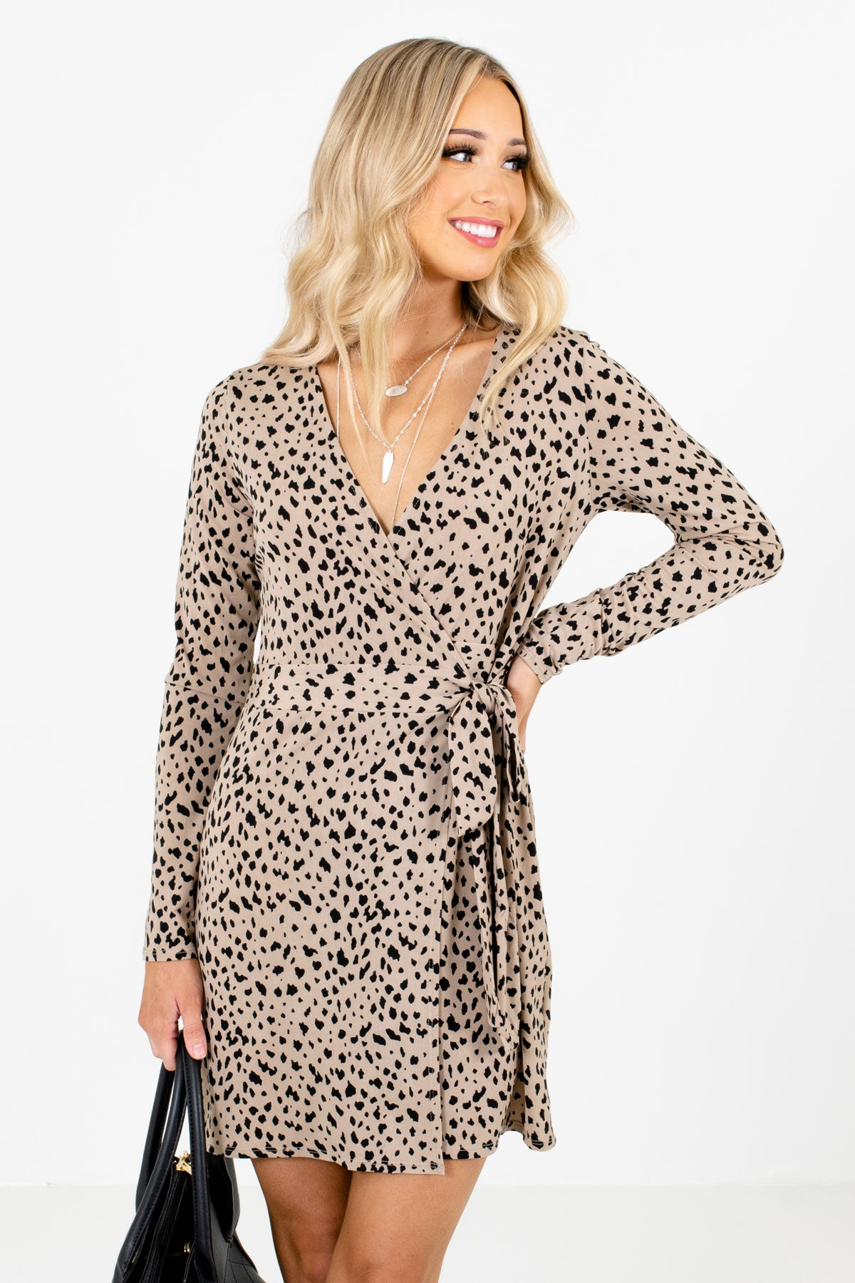 Taupe Brown and Black Leopard Print Patterned Boutique Mini Dresses for Women