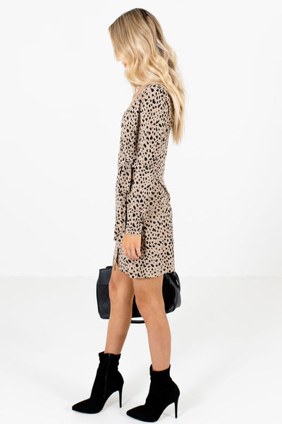 Taupe Brown Long Sleeve Boutique Mini Dresses for Women