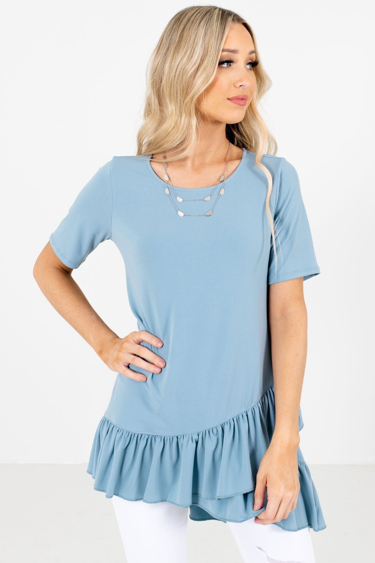 Blue Peplum Style Hem Boutique Tops for Women