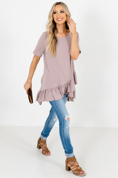Brown High-Quality Material Boutique Tops for Women
