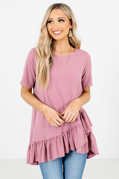 Women's Pink Round Neckline Boutique Top