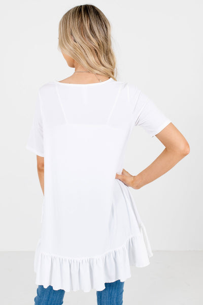 Women's White Longer Length Boutique Tops