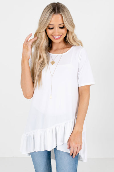 White Asymmetrical Hem Boutique Tops for Women