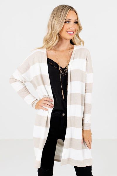 Cream Striped Pattern Boutique Cardigans for Women