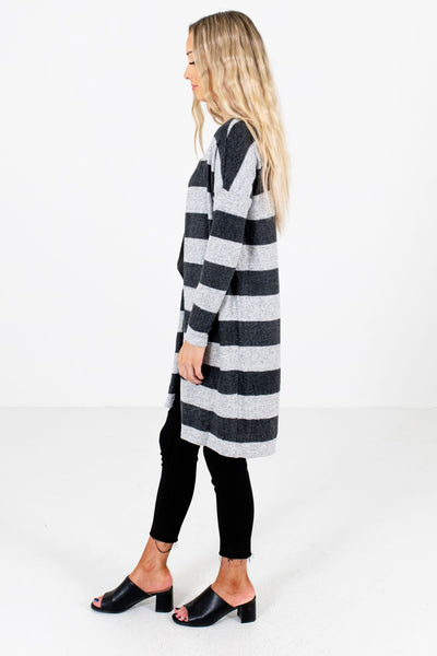 Gray Longer Length Boutique Cardigans for Women