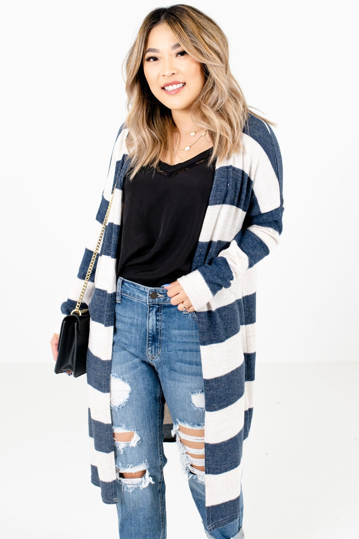 Navy Blue Striped Pattern Boutique Cardigans for Women