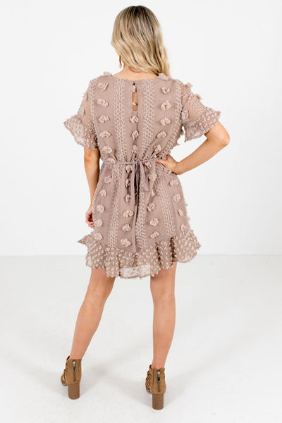 Women's Mocha Brown High-Quality Textured Material Boutique Mini Dress