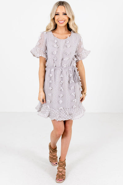 Light Gray Cute and Comfortable Boutique Mini Dresses for Women