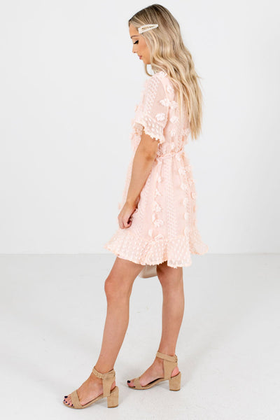 Women's Pink Ruffled Hem Boutique Mini Dress