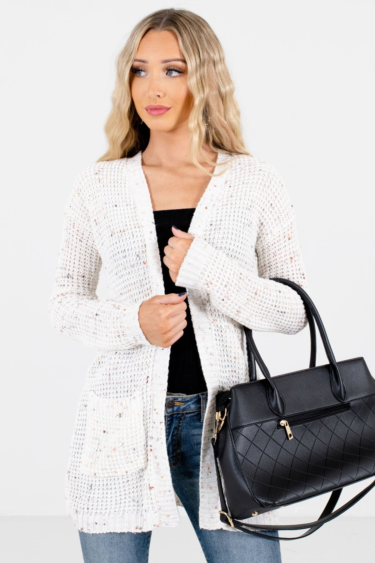 Cream Multicolored Speckle Patterned Boutique Cardigans for Women
