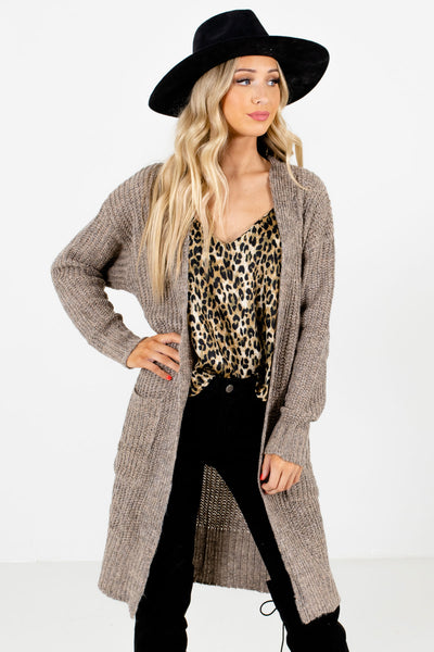 Taupe Brown High-Quality Knit Material Boutique Cardigans for Women