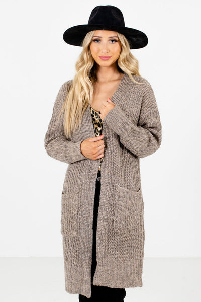 Women's Taupe Brown Warm and Cozy Boutique Cardigan