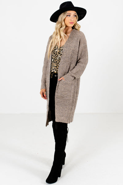 Women's Taupe Brown Long Sleeve Boutique Cardigan