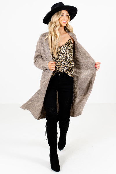 Taupe Brown Cute and Comfortable Boutique Cardigans for Women