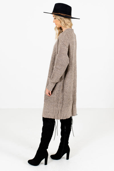 Taupe Brown Longer Length Boutique Cardigans for Women